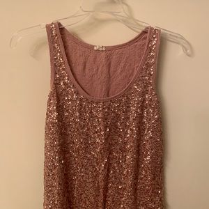 J crew rose gold sparkle top